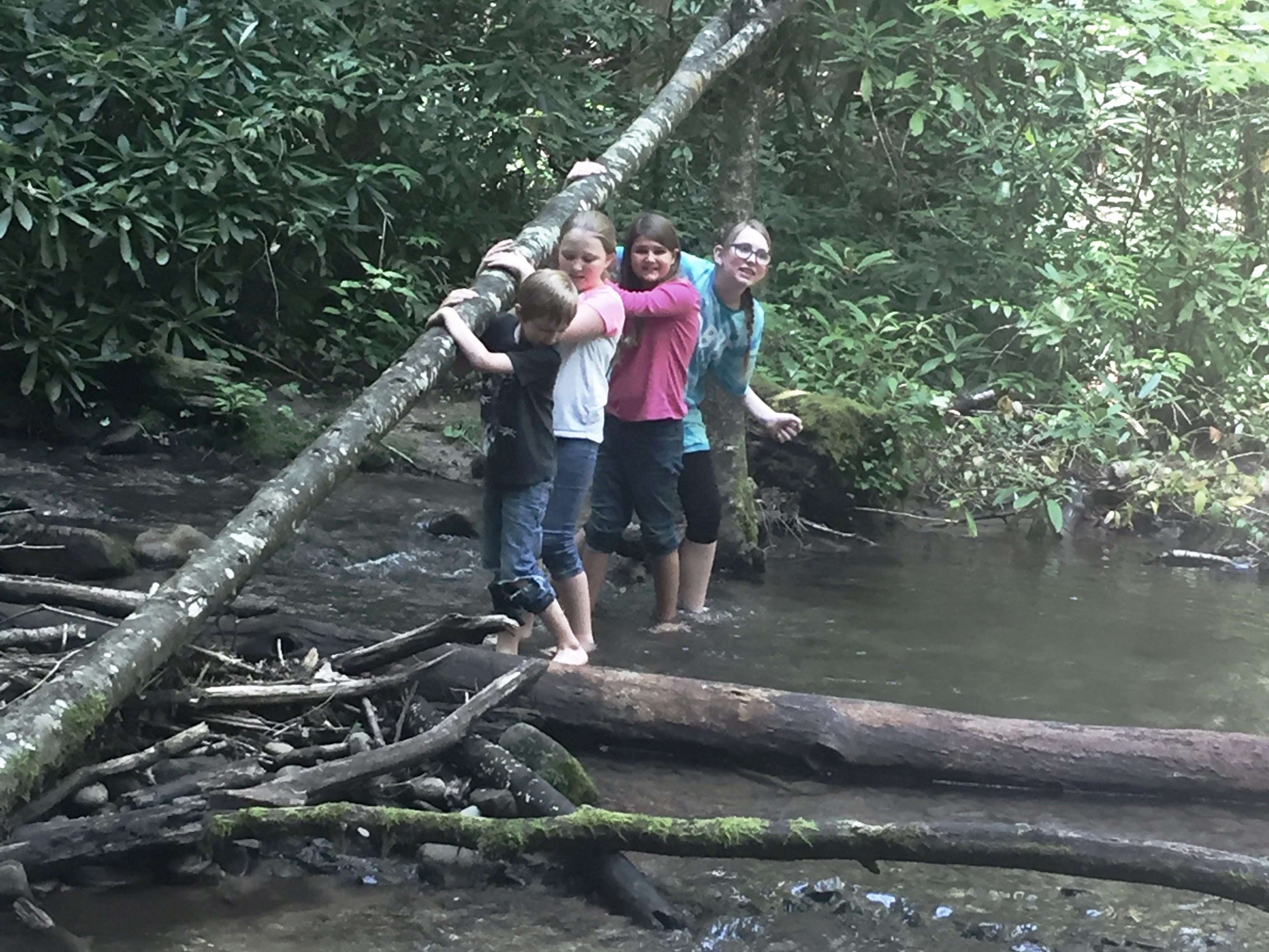 Playing in the creek with cousins.