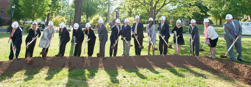 UM officials and special guests participate in the ceremonial groundbreaking for the Center for the Arts.