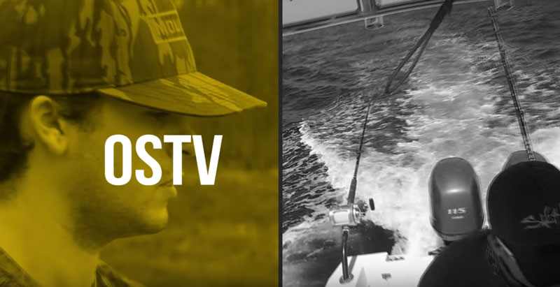 Opening screen of Outdoor Scholars TV. Split screen with hunter on one side and the view off of the back of a moving fishing boat on the other.