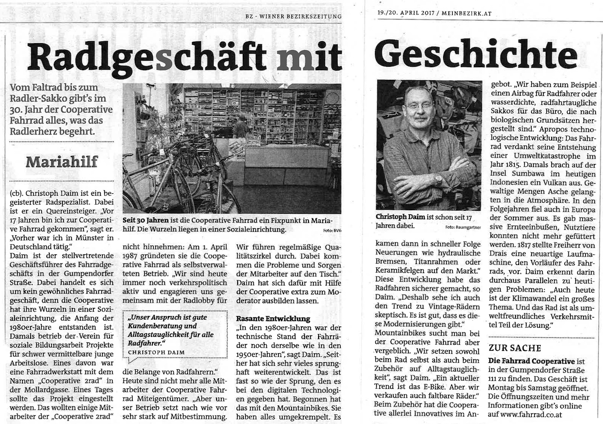 Jubiläum: 30 Jahre Cooperative Fahrrad