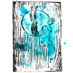 Ariel hoop performer, collographic print over turquoise ink