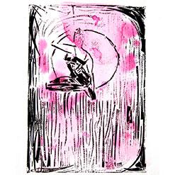 Ariel hoop performer, collographic print on pink ink
