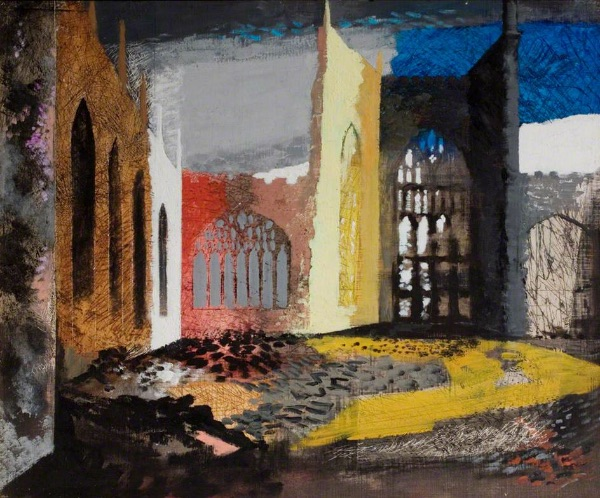John Piper - Interior of Coventry Cathedral, 1940