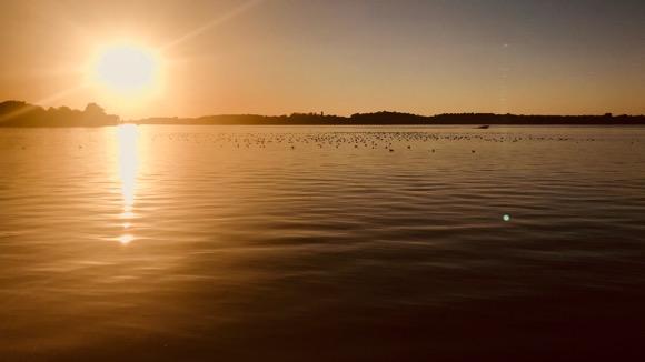 Sun setting on Cannon Lake.