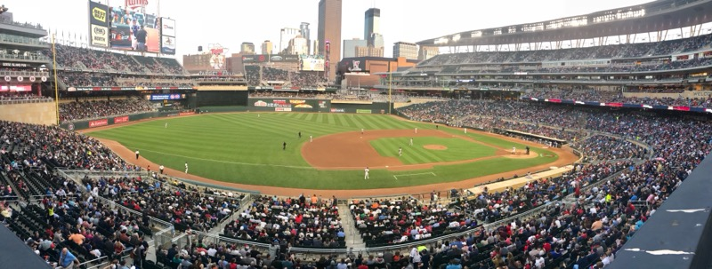 Minnesota Twins playing the Detroit Tigers at Target Field.