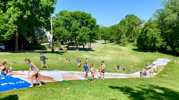 Giant slip-n-slide in Newton Sledding Hill in South Minneapolis.
