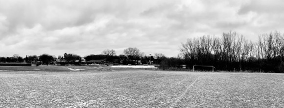 The cold and frozen soccer fields of Pamela Park.