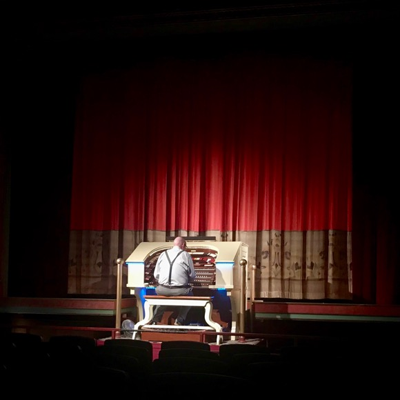Organist playing before the movie at The Heights Theater.