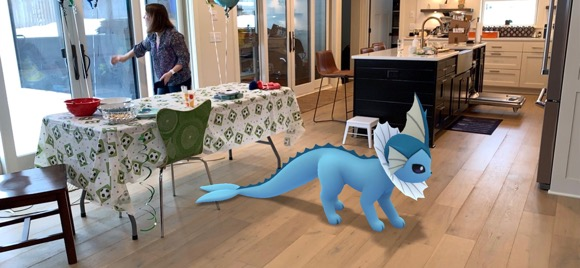 Pokémon Go added augmented reality photo capabilities. It's pretty fun to see the scale of Pokémon in your house!