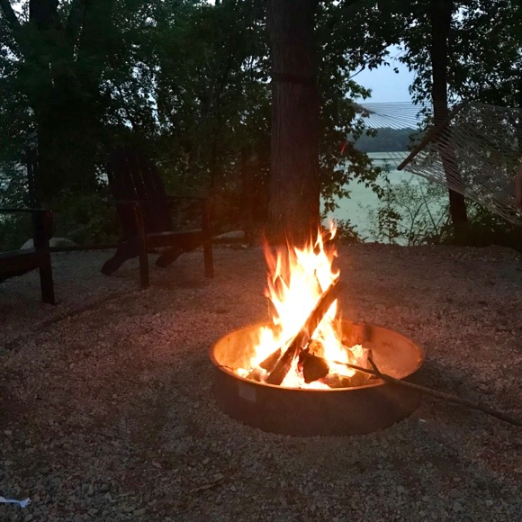 Evening fire at the lake.