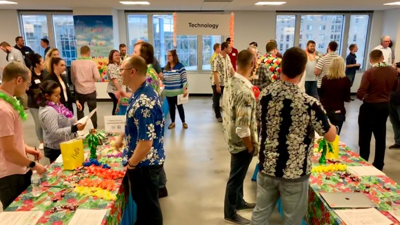 The TeamSPS Technology team sporting a Hawaiian look for a company event!