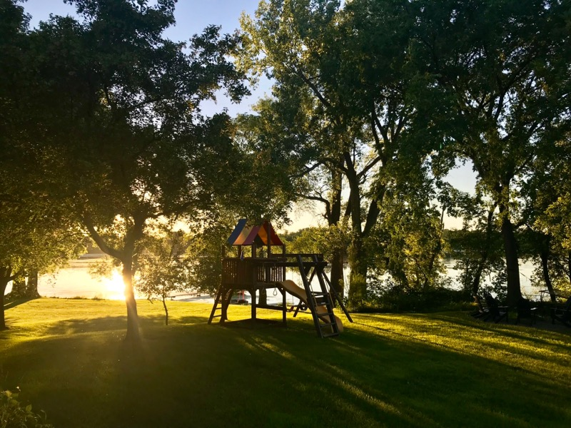 Dramatic sunset falling along the lakeside of Cannon Lake.