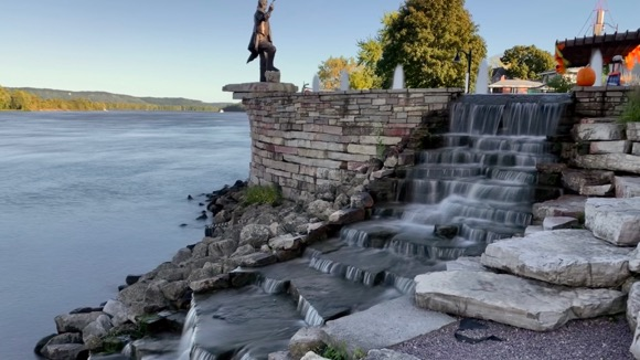 Fountain at the National Eagle Center in Wabasha flowing into the Mississippi River.