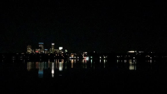 Downtown Minneapolis at night from Lake Calhoun.