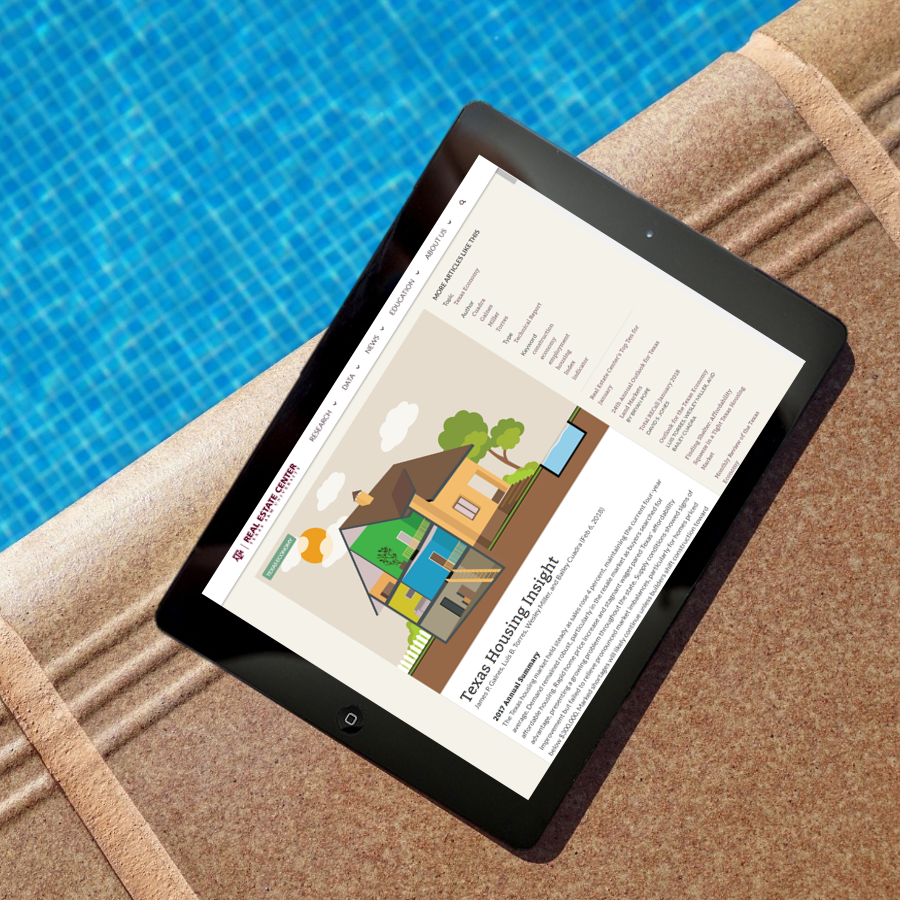 The Texas Housing Insight report on an iPad near a pool