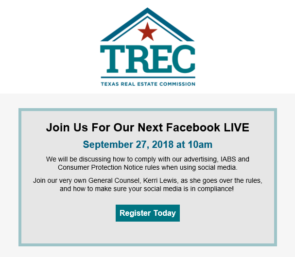 Join Us For Our Next Facebook LIVE September 27, 2018 at 10am We will be discussing how to comply with our advertising, IABS and Consumer Protection Notice rules when using social media. Join our very own General Counsel, Kerri Lewis, as she goes over the rules, and how to make sure your social media is in compliance!