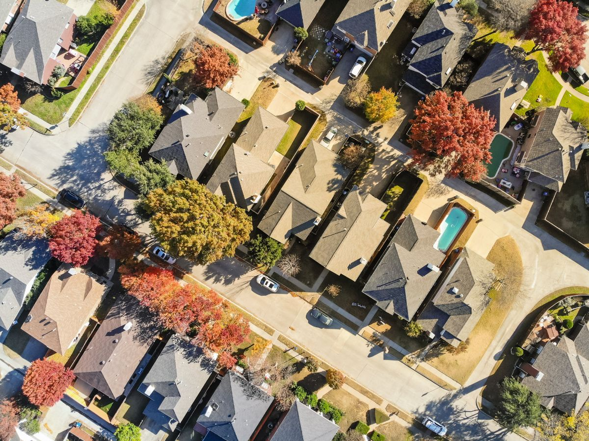 Aerial view of Dallas suburb in fall