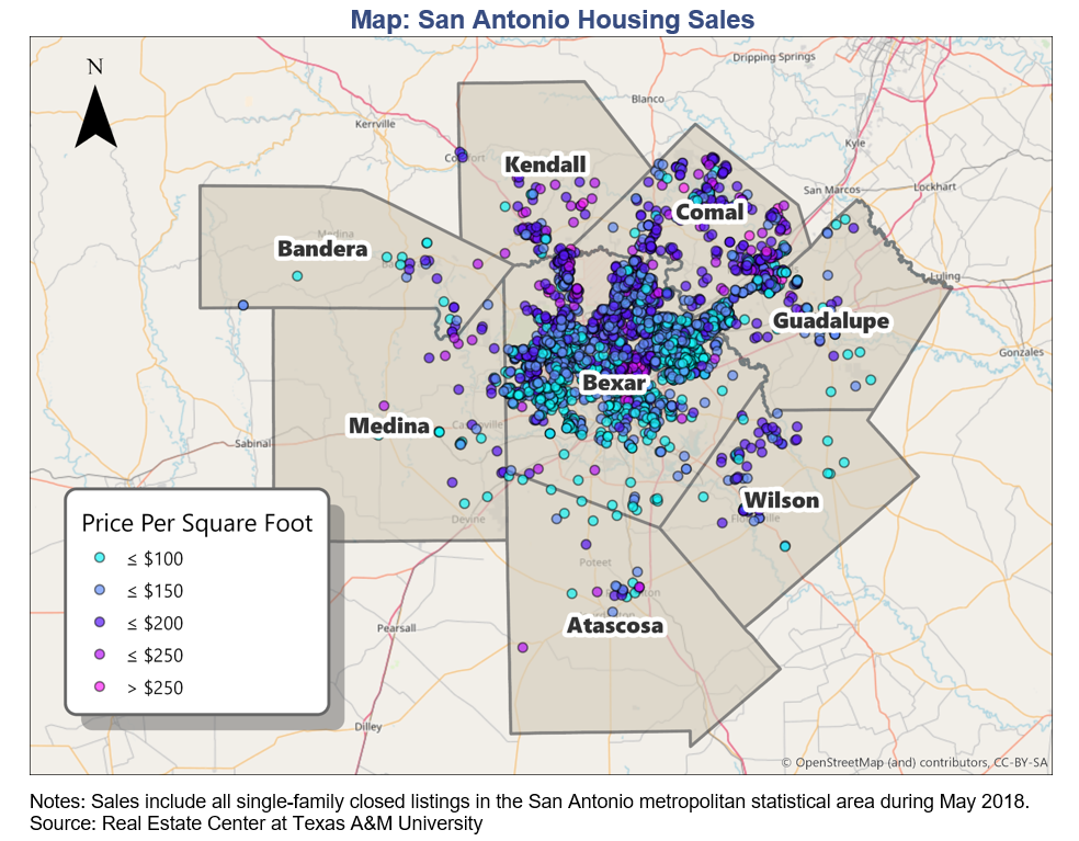 Heat map of San Antonio housing sales