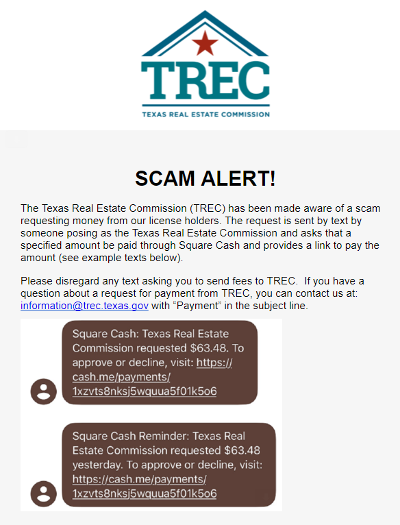 Beware of text messages from people posing as TREC asking for money. Scam!