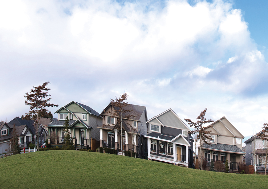A line of houses on a wavy hill