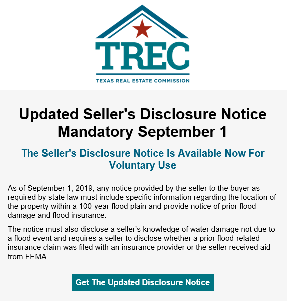 Updated Seller's Disclosure Notice Mandatory September 1 The Seller's Disclosure Notice Is Available Now For Voluntary Use