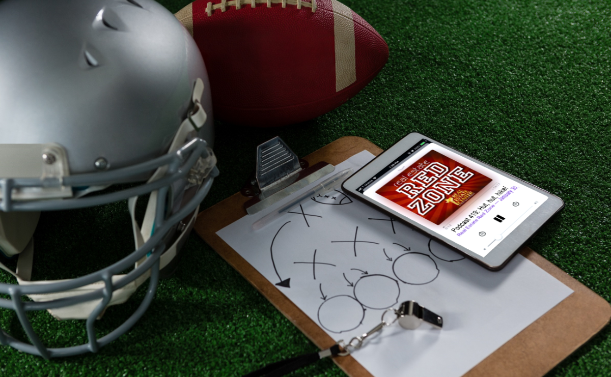 Football gear with ipad playing podcast onscreen