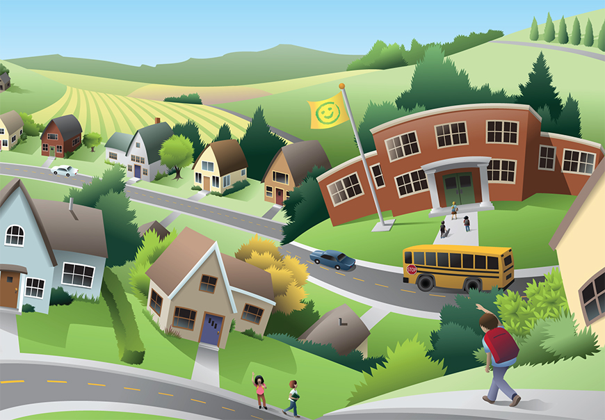 Cartoon of kids walking to school from suburban homes