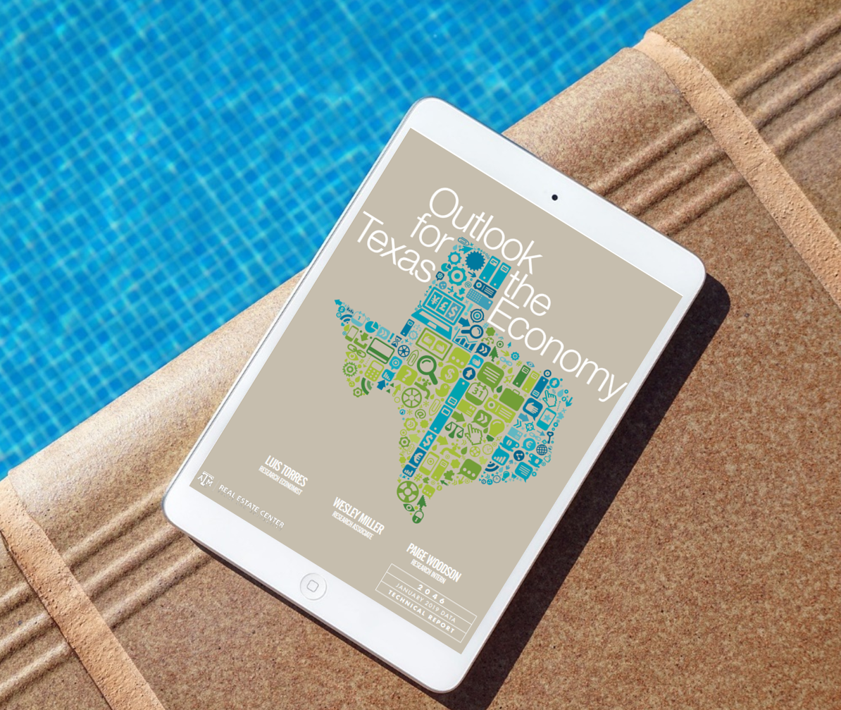 Outlook for the Texas Economy report on an iPad by the pool
