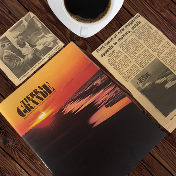 First issue of Tierra Grande magazine, 1977, with newspaper clippings from The Bryan-College Station Eagle