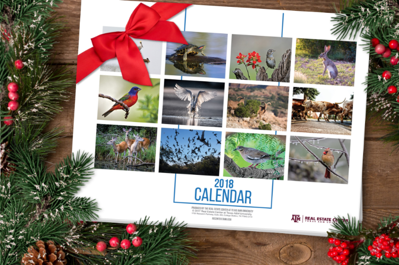 Center's 2018 Calendar on wooden table surrounded by pine branches and berries