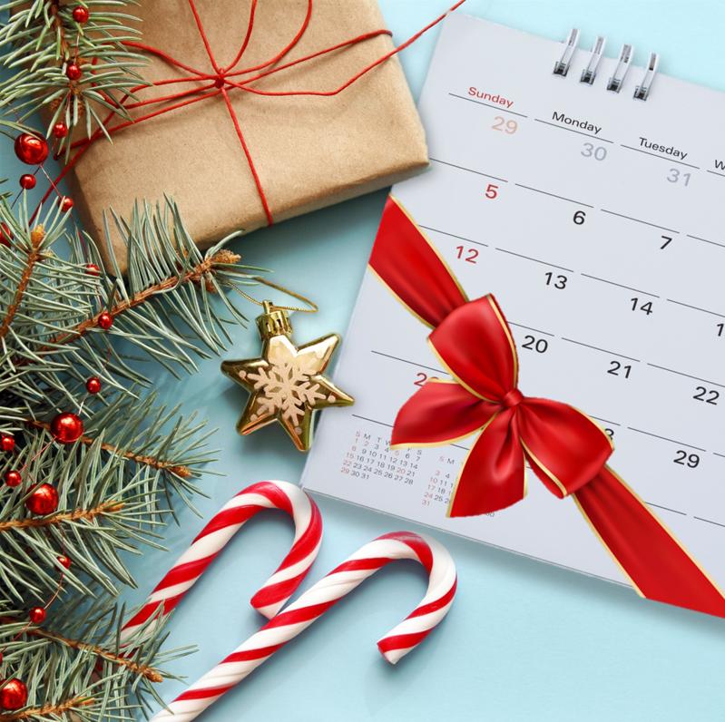 A christmas calendar flat-lay
