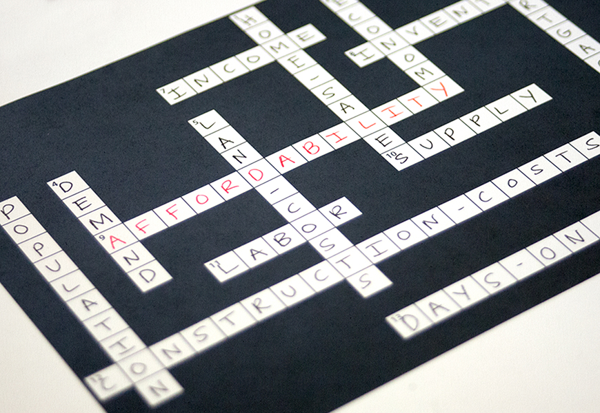 a crossword puzzle with housing related terms, like