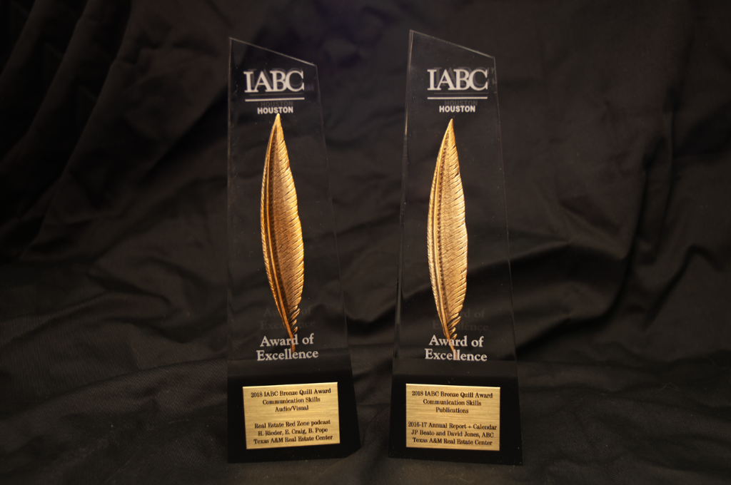 IABC Houston Bronze Quill Awards of Excellence on a black background
