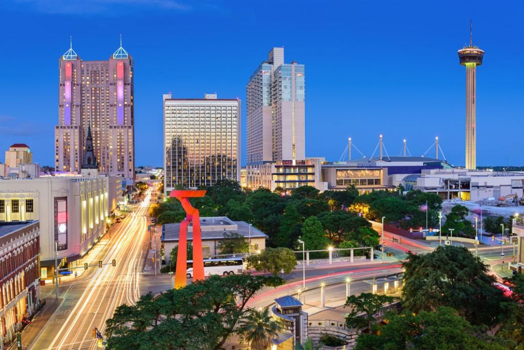 San Antonio skyline on a clear blue night