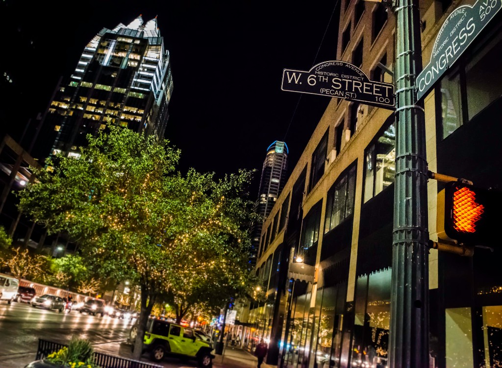 Downtown Austin at the intersection of W. 6th St. and Congress Ave.