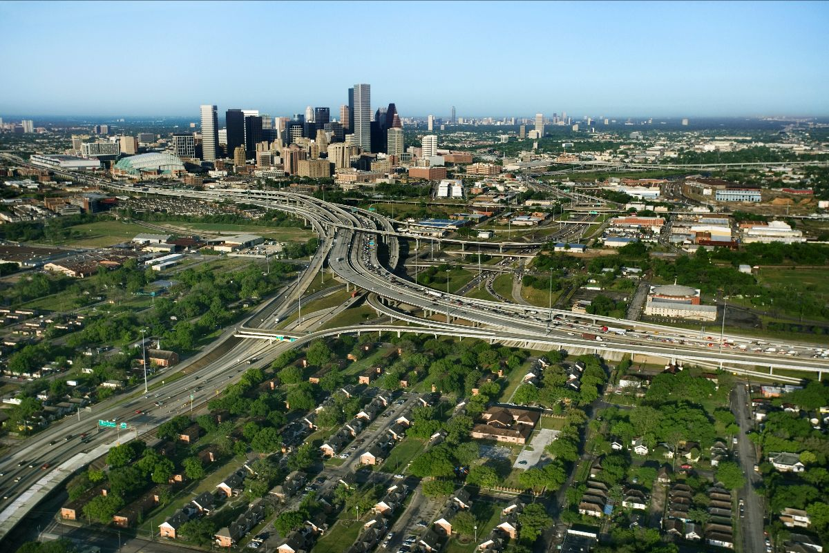 Highways in front of Houston skyline