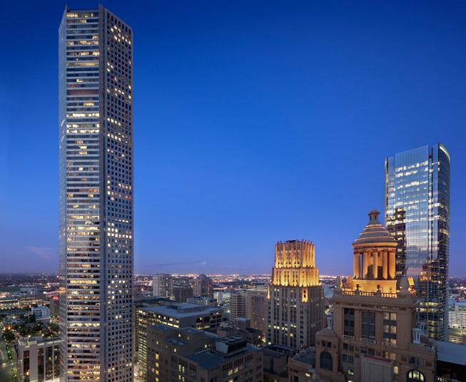 JP Morgan Chase lit up at night