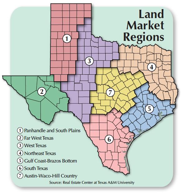 Texas Land Markets map