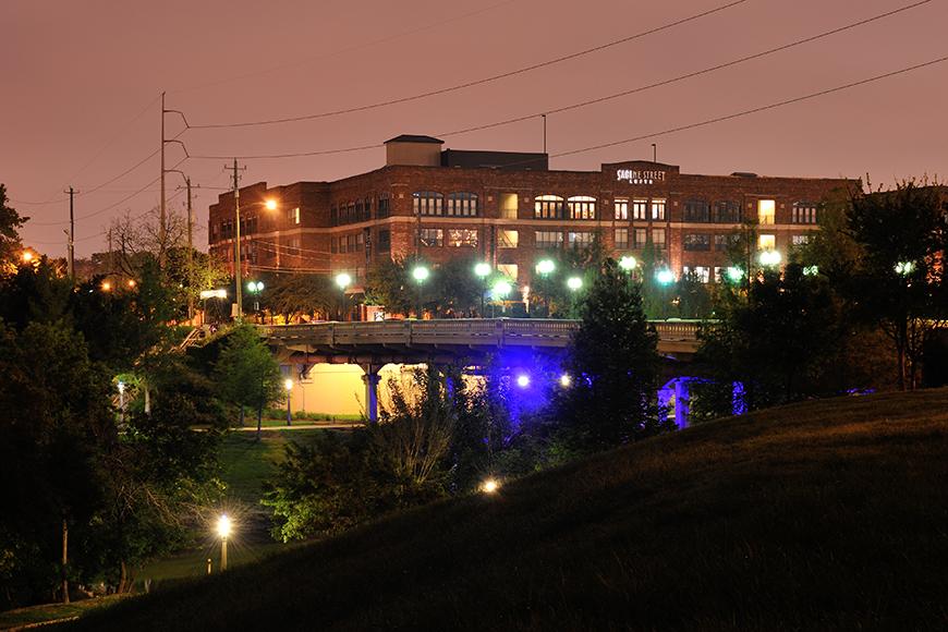 Houston apartment complex at night