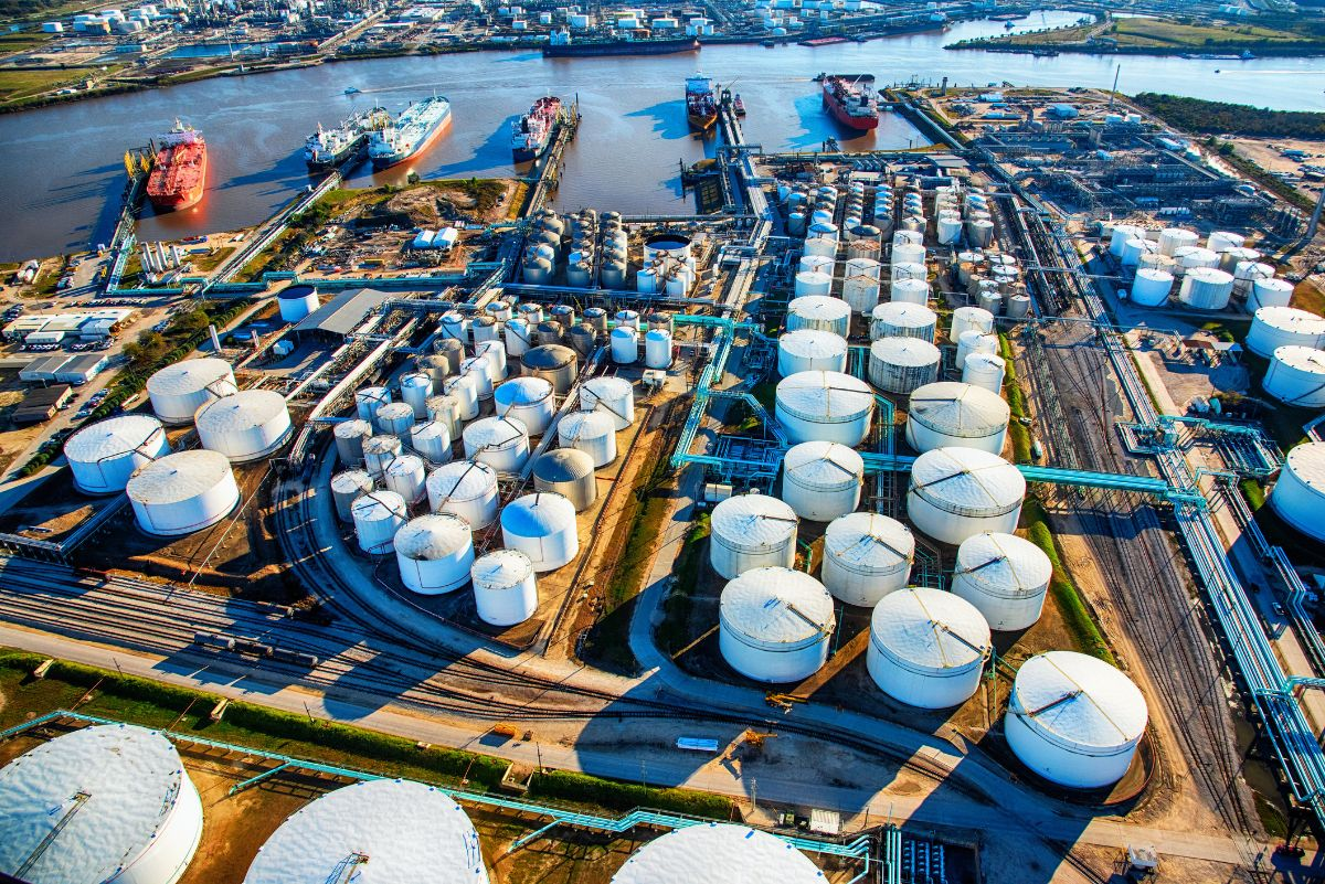 Aerial view of an oil refinery outside of Houston