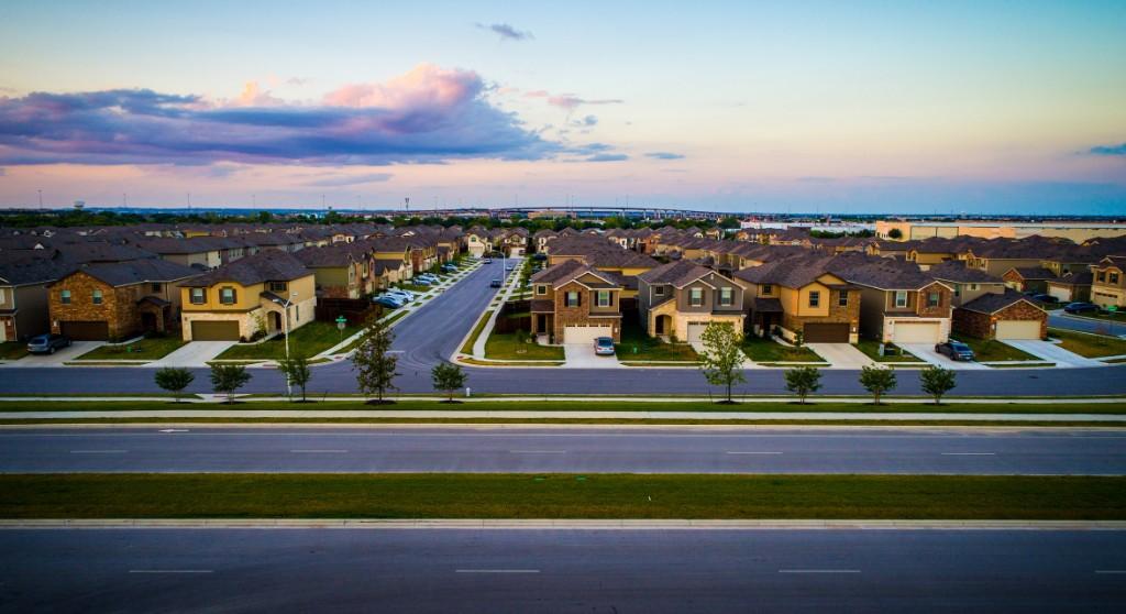 Aerial drone shot above Austin , Texas Suburb new home envelopment