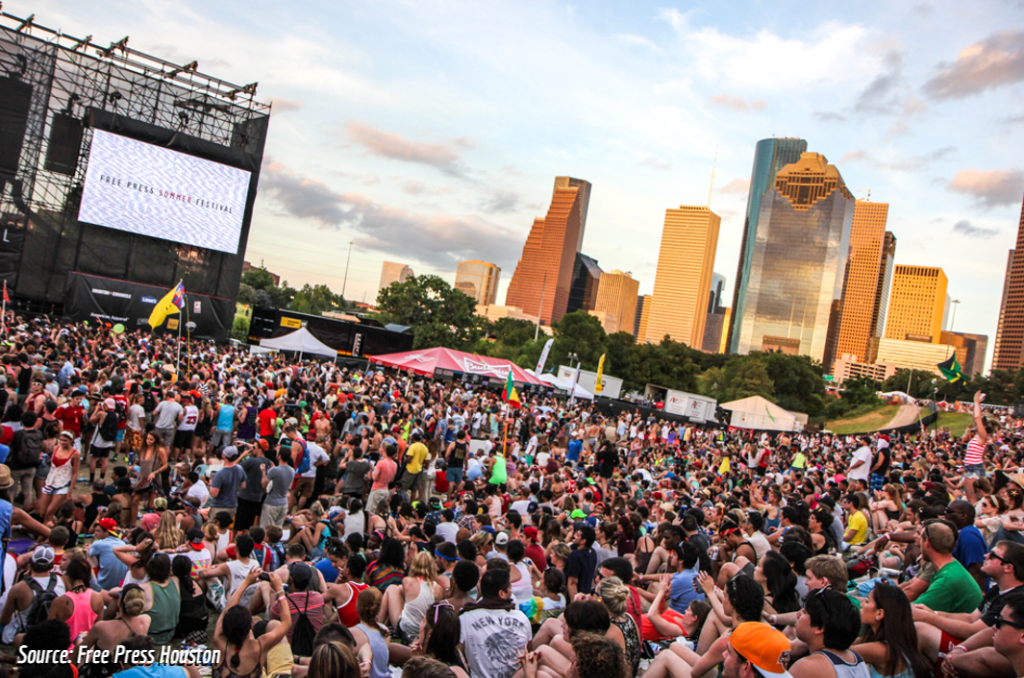 A crowd waits at Free Press Summer Fest at dusk. The Houston skyline sits behind them.