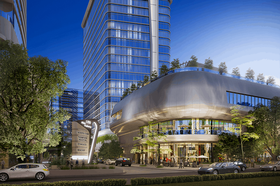 Rendering of the Allen, a walkable, green mixed-use community in Houston