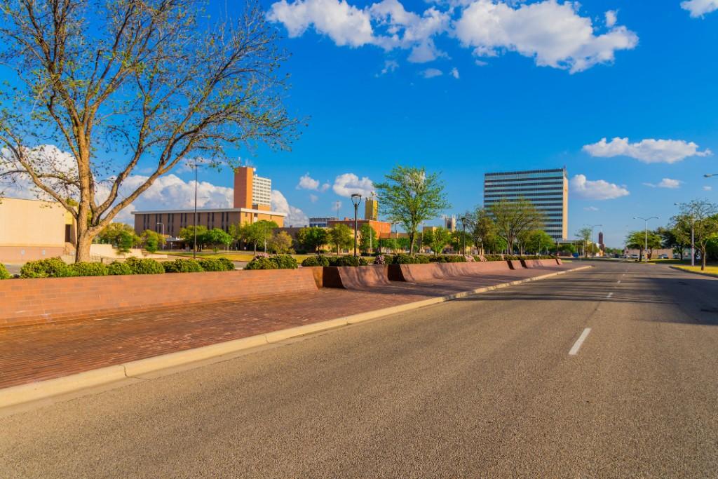 Empty road in Lubbock, Texas.