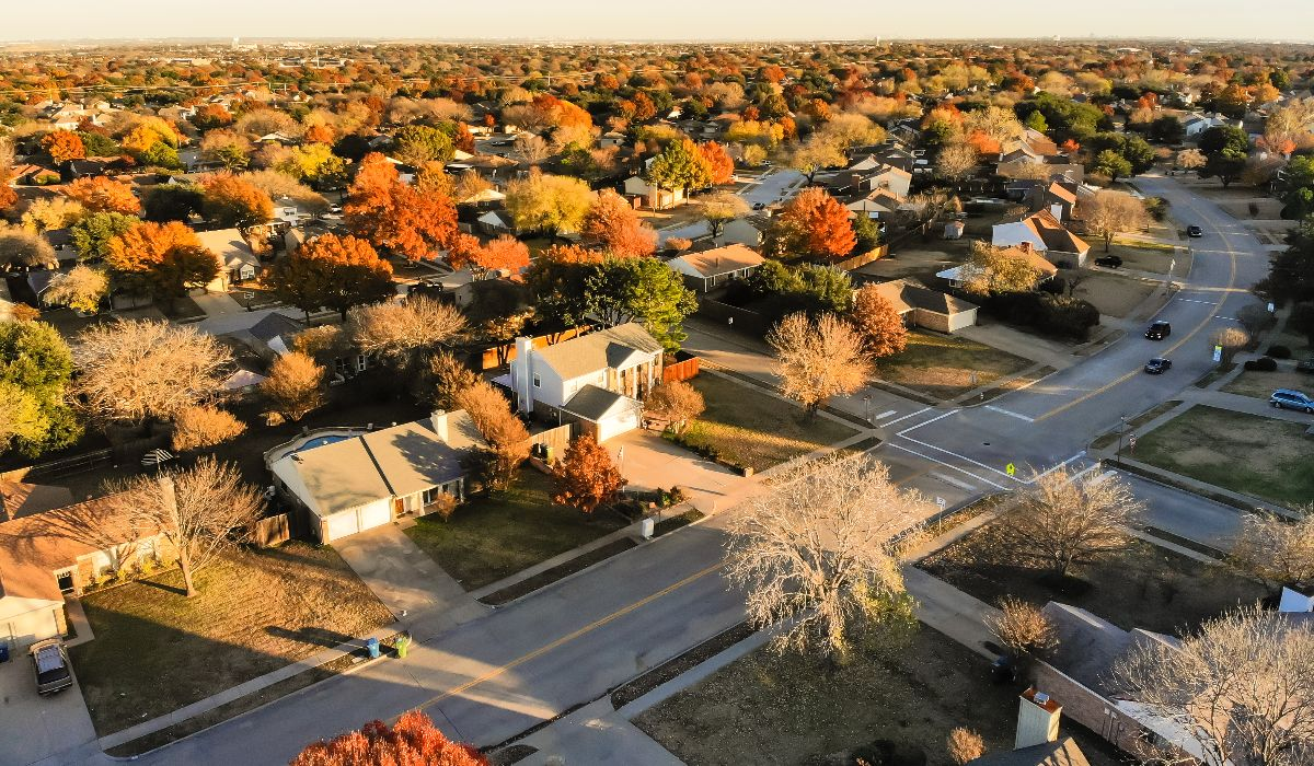 aerial view of a dallas suburb in the fall