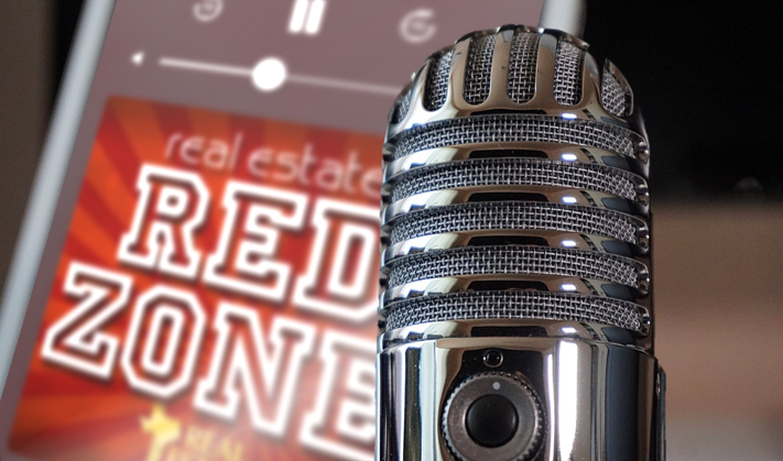 Real Estate Red Zone logo and microphone