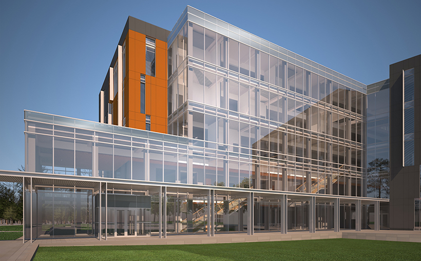 Rendering of SHSU's College of Osteopathic Medicine in Conroe