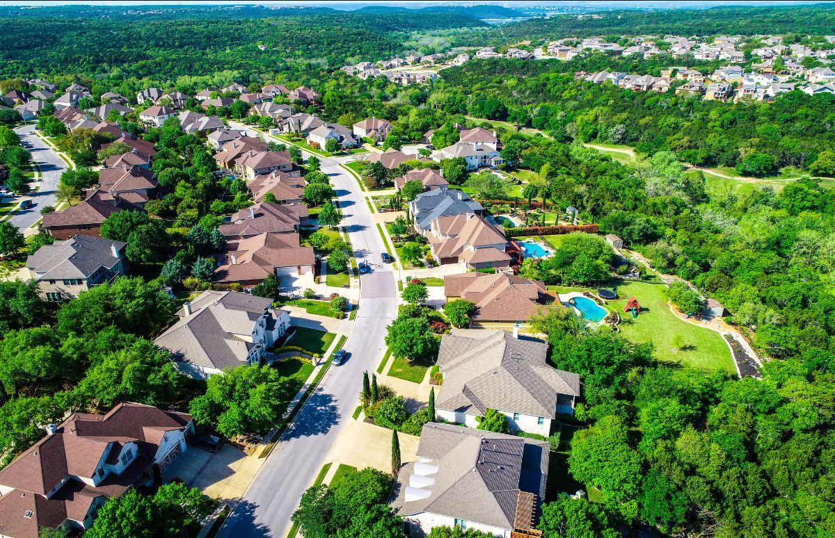 Aerial view of luxury homes in Cedar Park, TX