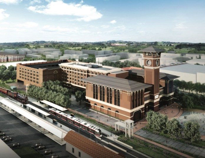 The Grapevine Main development is a 19th century-style mixed-use project with a TEXRail station.