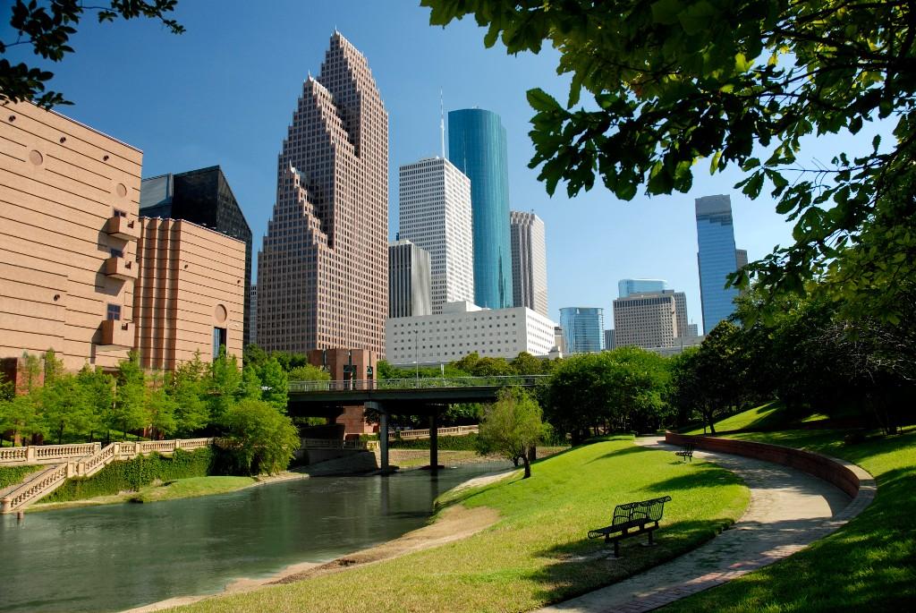Houston skyline from lush green park